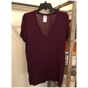 PINK :: V-Neck T-Shirt :: Burgundy